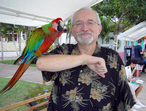 Peter Kalba and a parrot BG on Board
